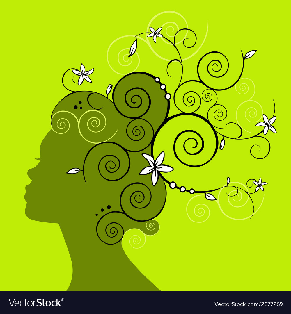 Woman head profile silhouette vector | Price: 1 Credit (USD $1)