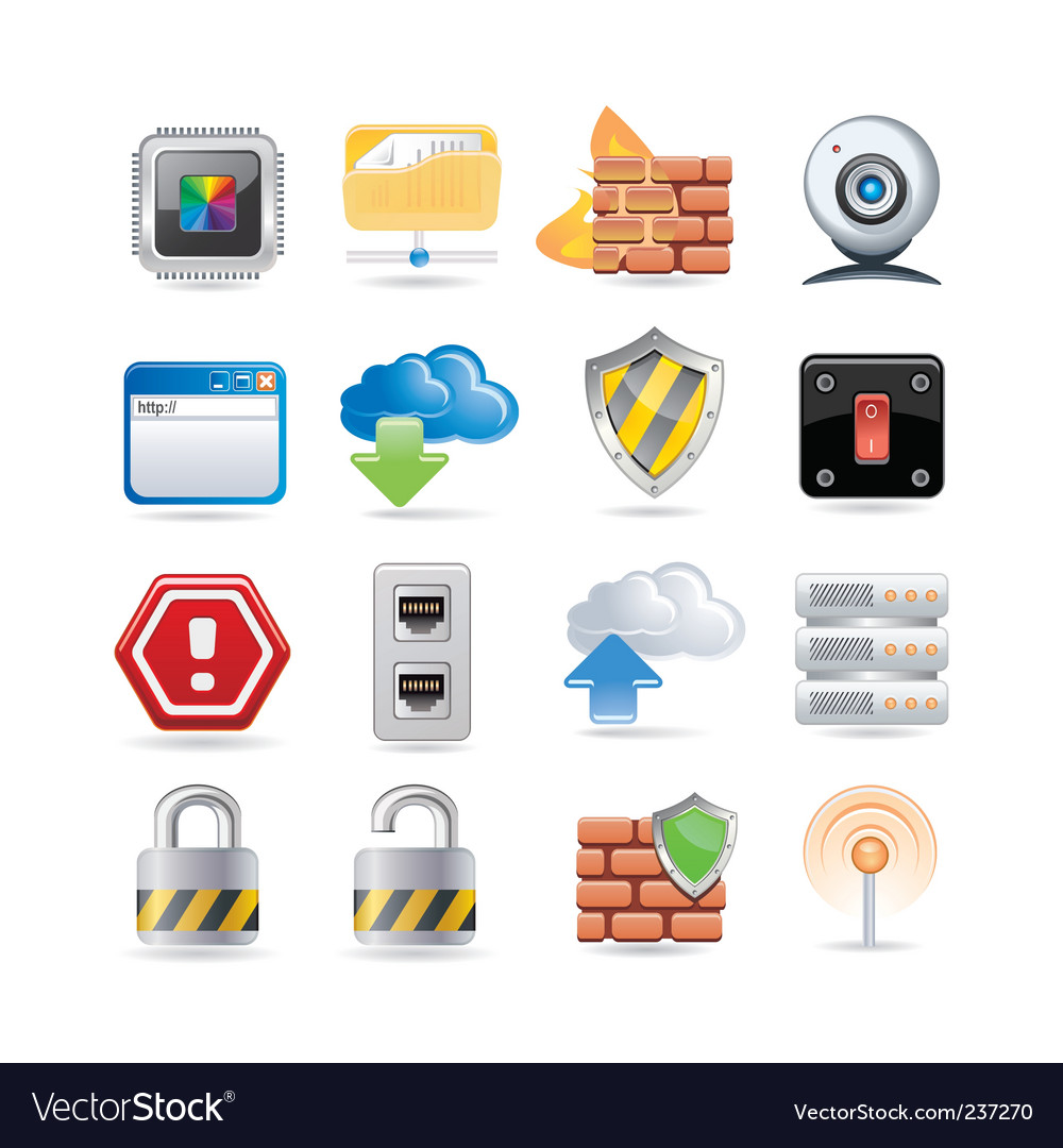 Computer network icon set vector | Price: 3 Credit (USD $3)