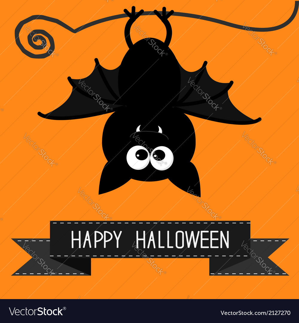 Cute bat and black ribbon happy halloween card vector | Price: 1 Credit (USD $1)
