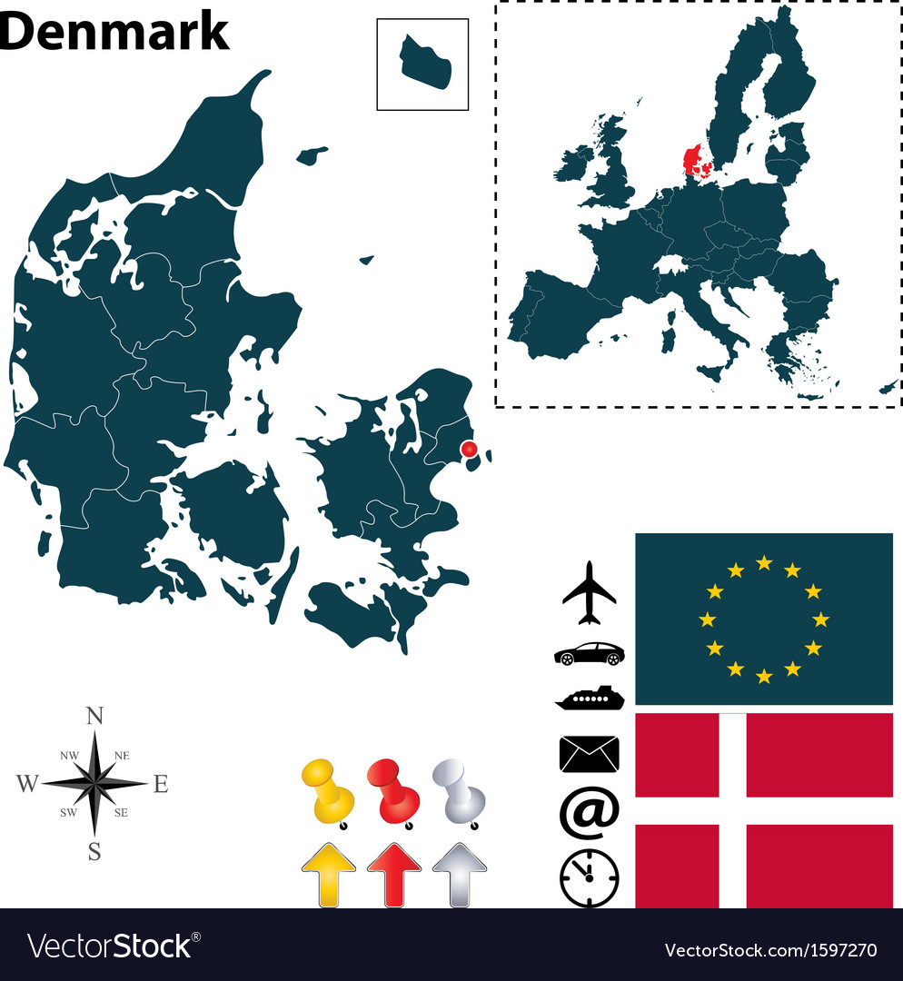 Denmark and european union map vector | Price: 1 Credit (USD $1)