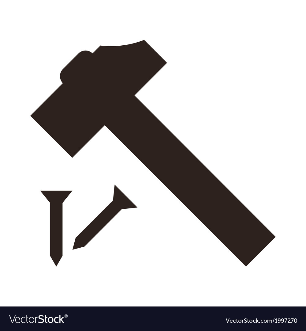 Hammer and nail icon vector | Price: 1 Credit (USD $1)