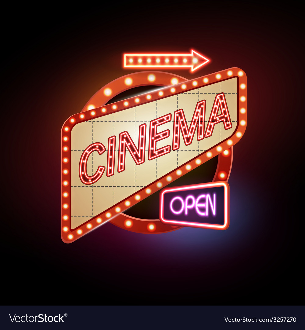 Neon sign cinema vector | Price: 1 Credit (USD $1)