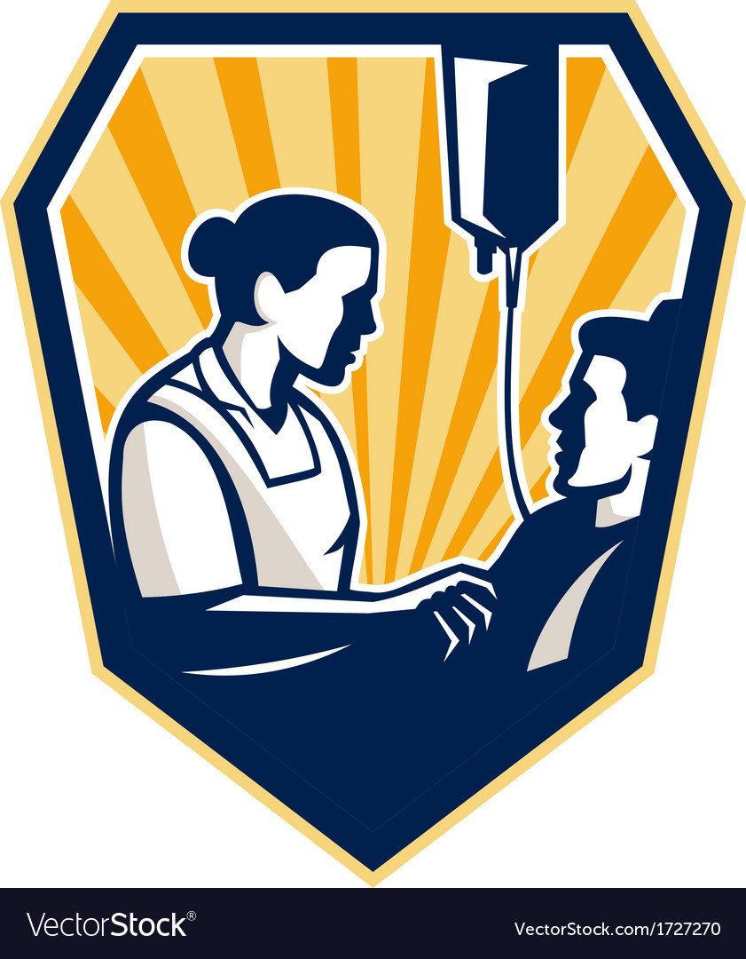 Nurse tending sick patient retro vector | Price: 1 Credit (USD $1)