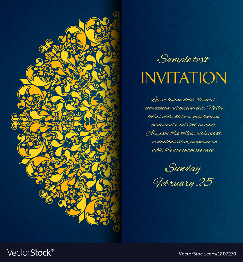 Ornamental blue with gold embroidery invitation vector | Price: 1 Credit (USD $1)