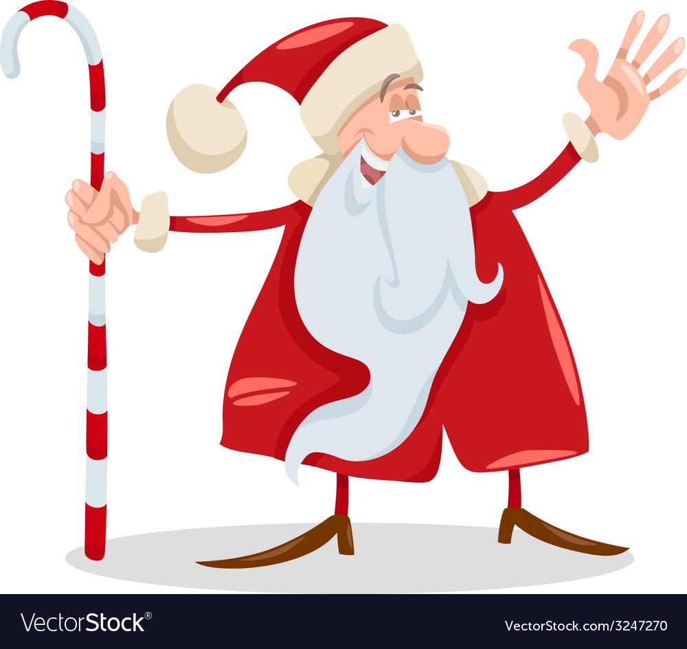 Santa claus with cane cartoon vector | Price: 1 Credit (USD $1)
