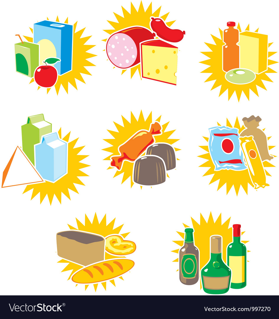 Set of icons with food and drinks vector | Price: 1 Credit (USD $1)