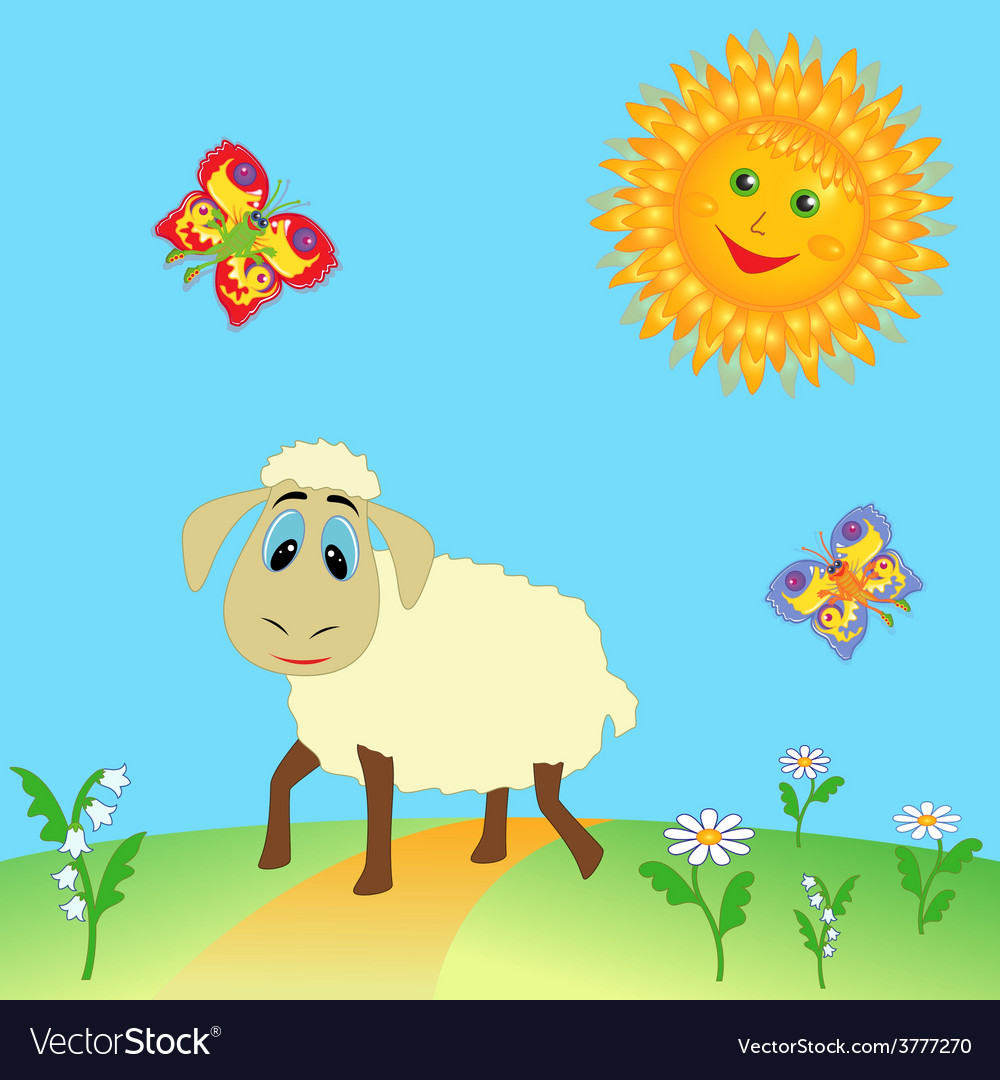 Sheep on meadow vector | Price: 1 Credit (USD $1)