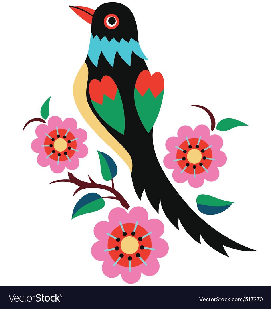 Stylish oriental flower bird vector | Price: 1 Credit (USD $1)