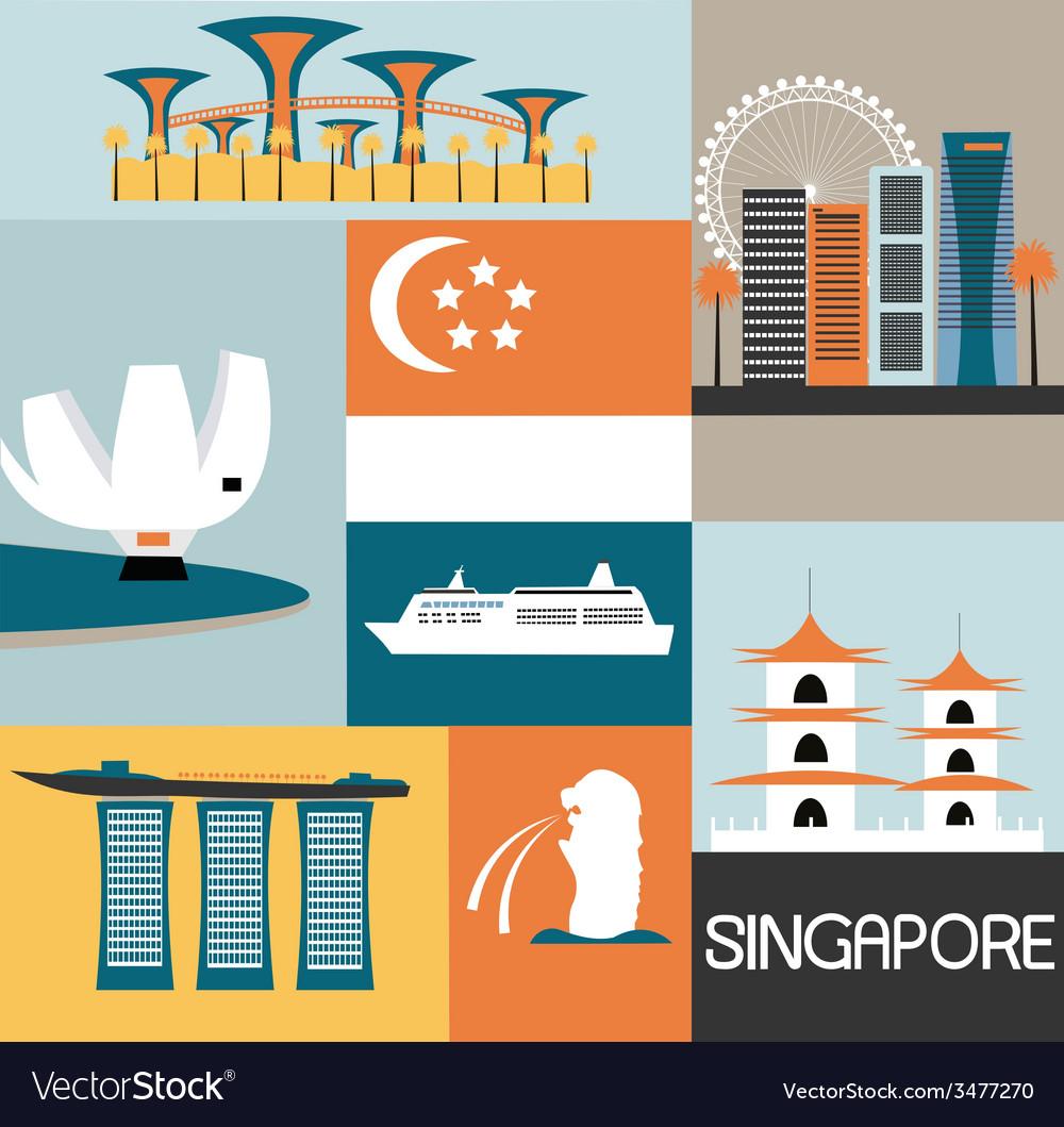Symbols of singapore vector