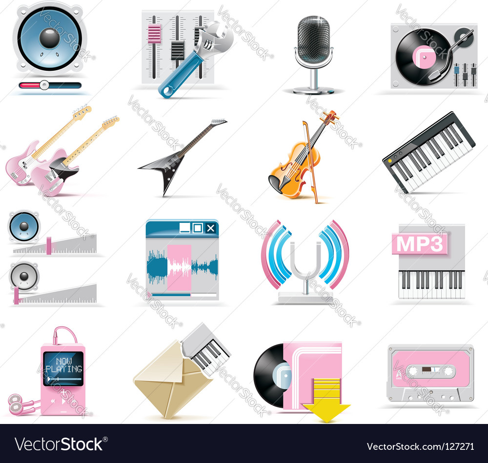 Audio and music icon set vector | Price: 3 Credit (USD $3)