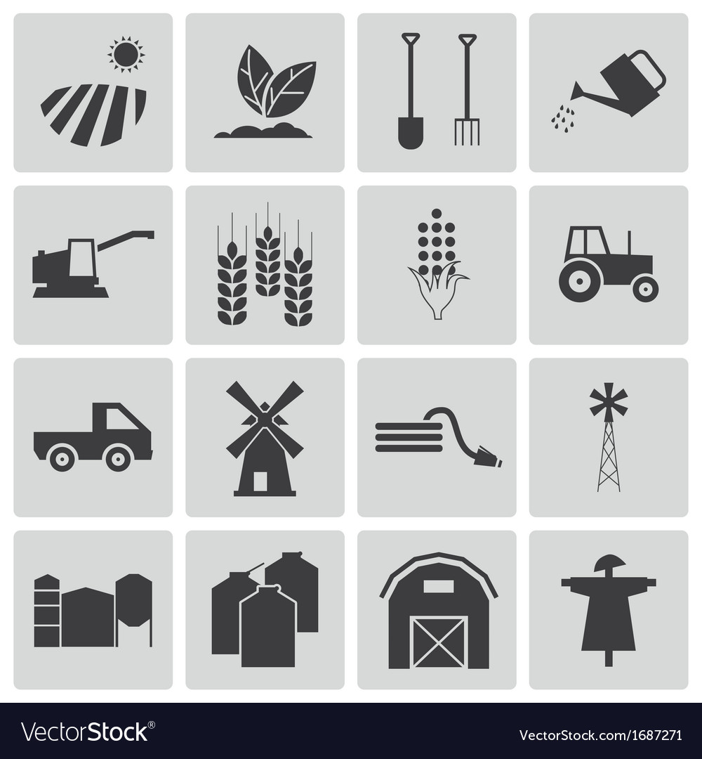 Black farming icons set vector | Price: 1 Credit (USD $1)