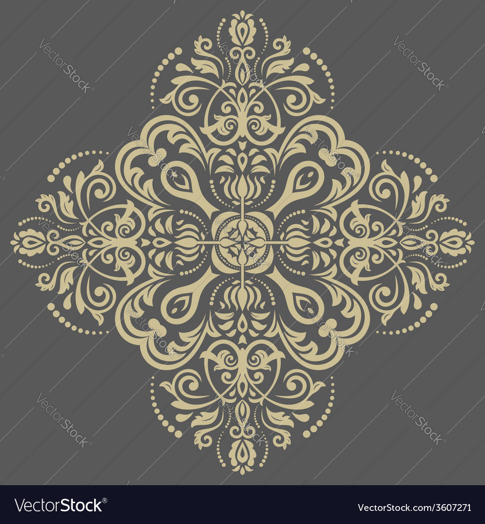 Damask pattern orient golden background vector | Price: 1 Credit (USD $1)