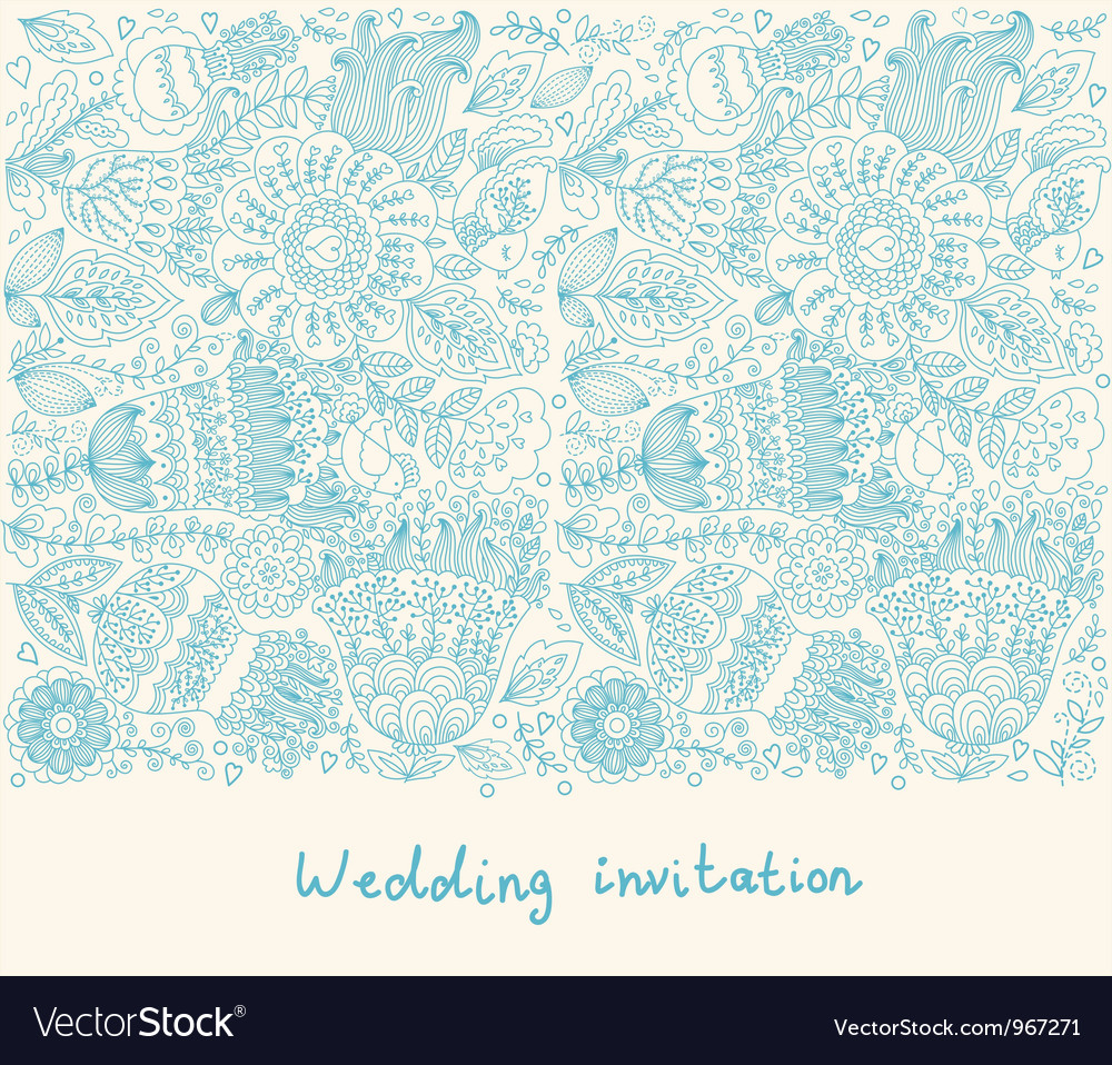 Floral wedding inviation vector | Price: 1 Credit (USD $1)