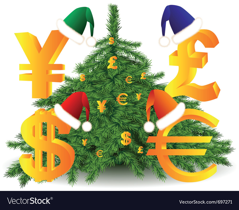 Gold currency xmas tree vector | Price: 1 Credit (USD $1)