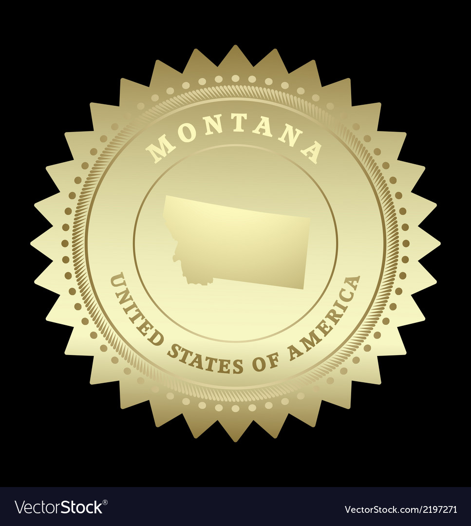 Gold star label montana vector | Price: 1 Credit (USD $1)