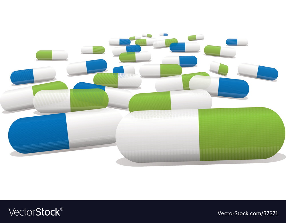Green pills vector | Price: 1 Credit (USD $1)