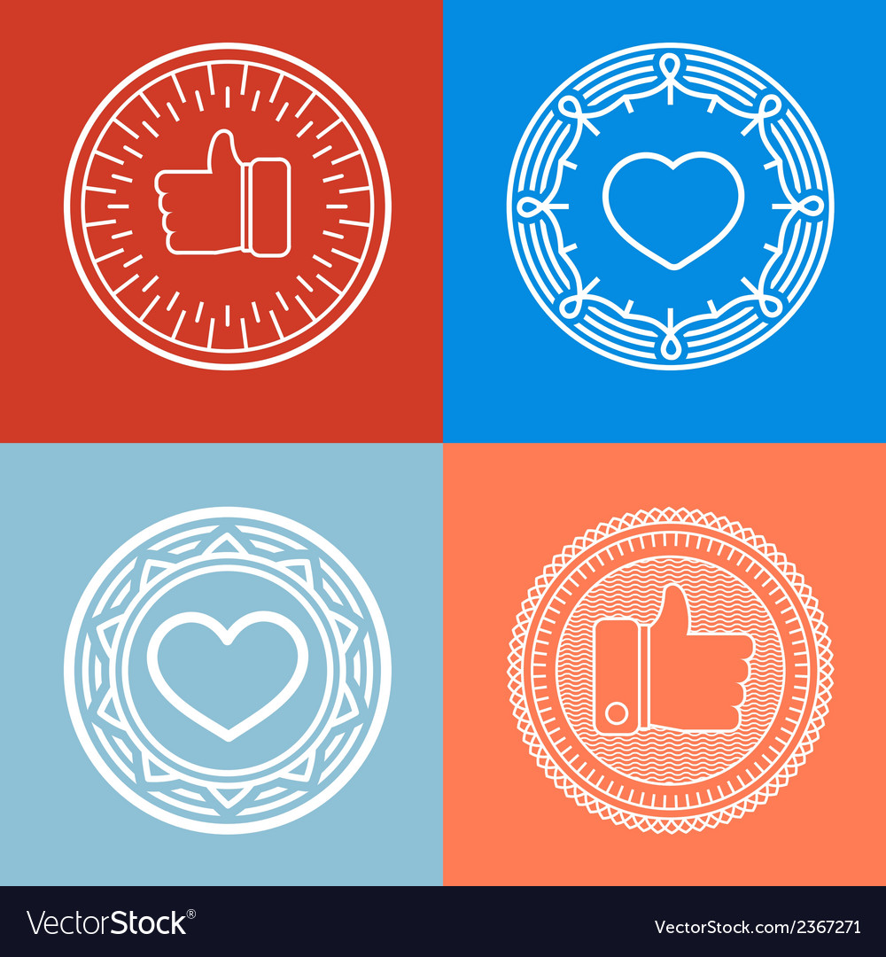 Like label in outline style vector | Price: 1 Credit (USD $1)