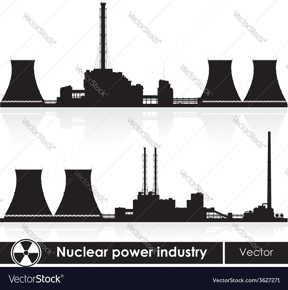 Nuclear power plants silhouette isolated on white vector | Price: 1 Credit (USD $1)
