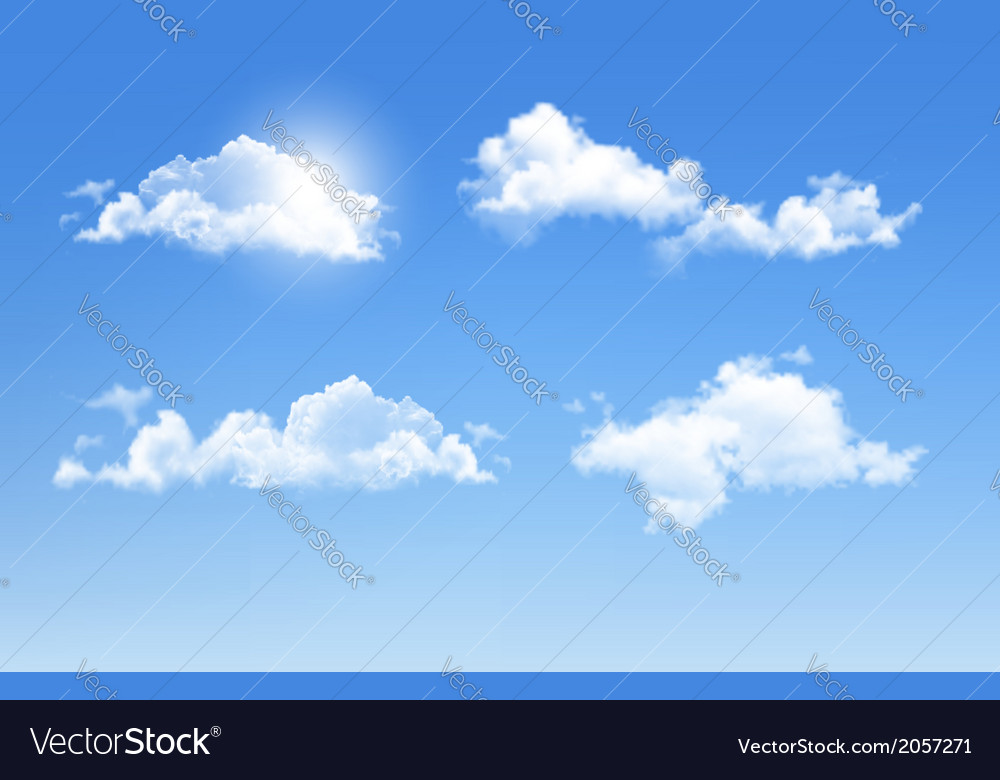 Set of transparent different clouds vector | Price: 1 Credit (USD $1)