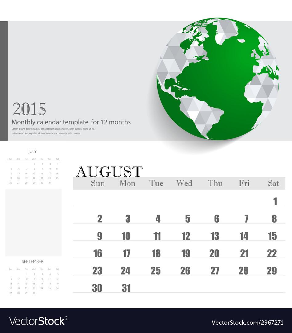 Simple 2015 calendar august vector | Price: 1 Credit (USD $1)