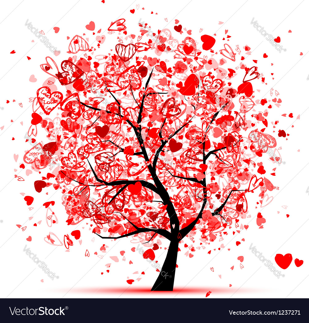 Valentine tree with hearts for your design vector | Price: 1 Credit (USD $1)