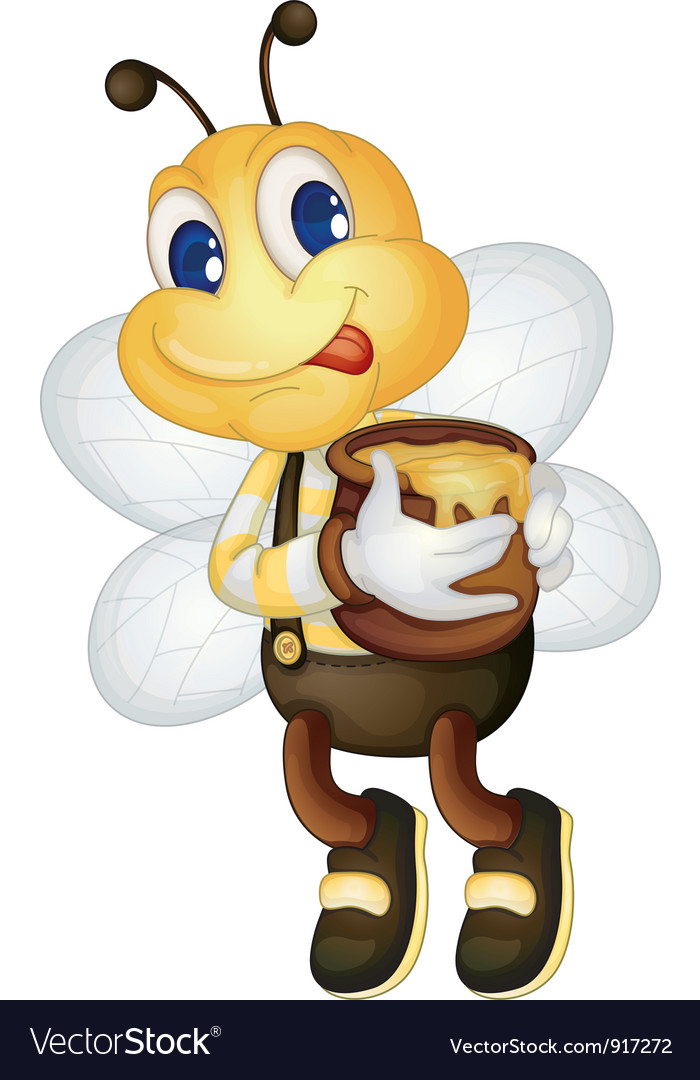 Bee with honey pot vector | Price: 3 Credit (USD $3)