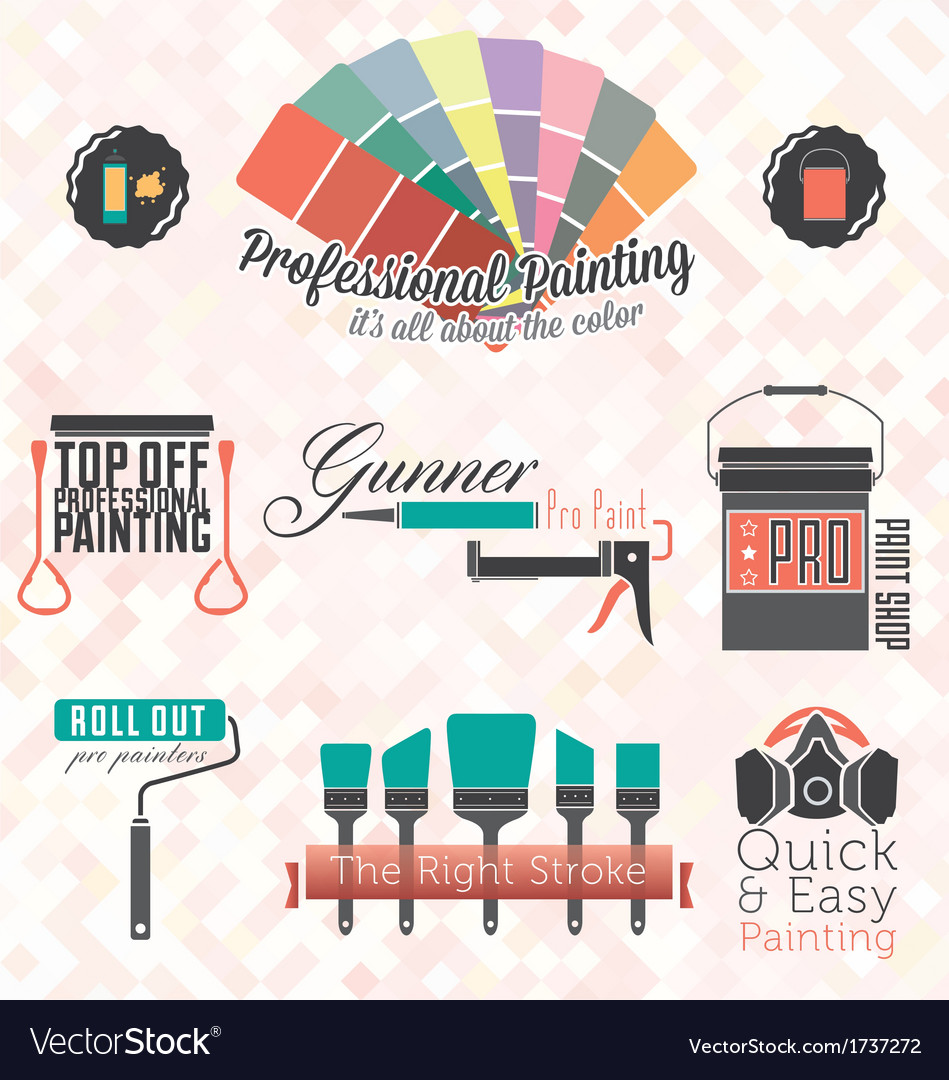 Commercial residential painting icons vector | Price: 1 Credit (USD $1)
