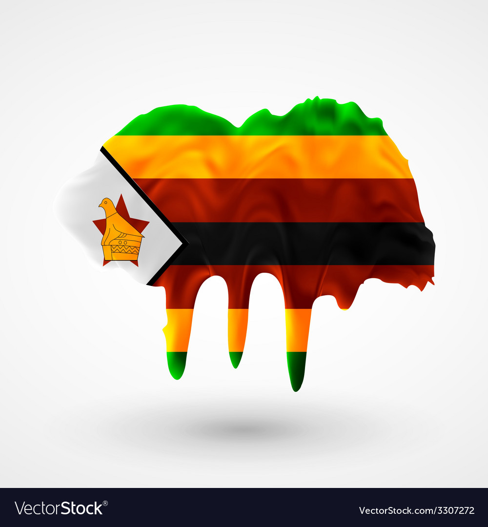 Flag of zimbabwe painted colors vector   Price: 1 Credit (USD $1)