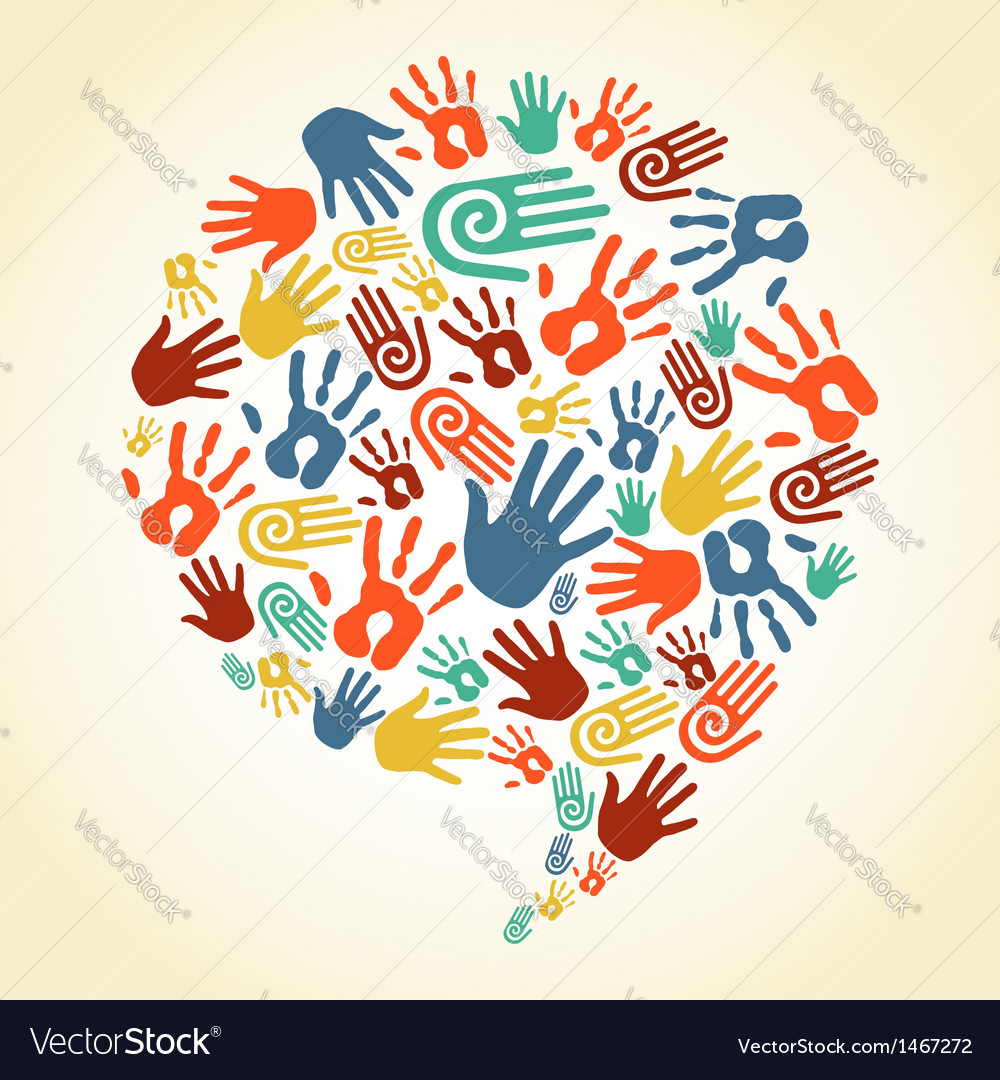 Global diversity hand prints speech bubble vector | Price: 1 Credit (USD $1)