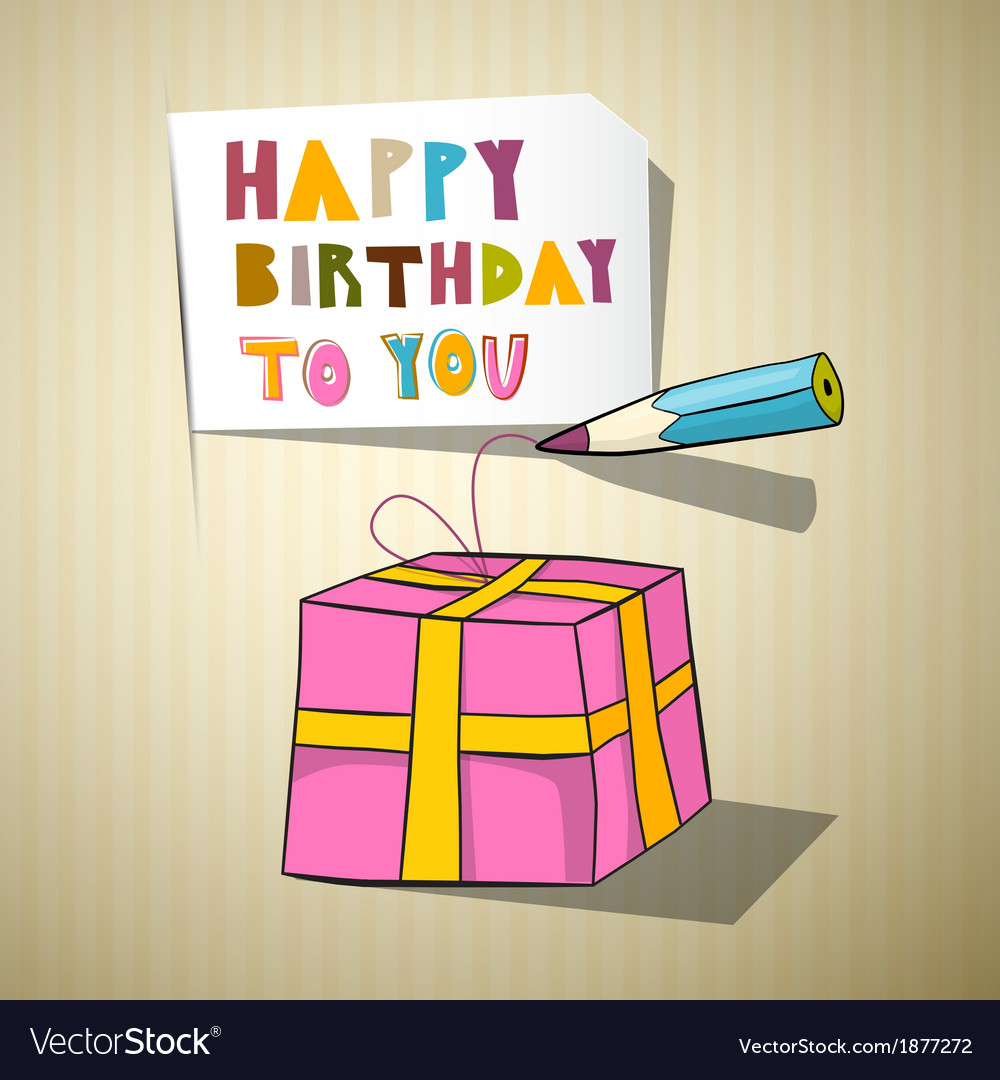 Happy birthday title gift box pencil vector | Price: 1 Credit (USD $1)
