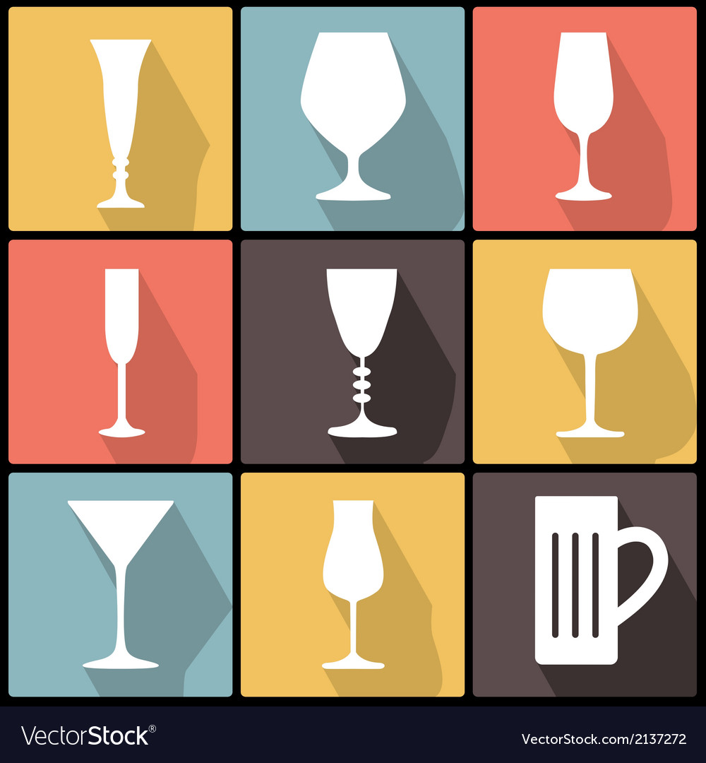 Icons with stemware in flat design vector | Price: 1 Credit (USD $1)