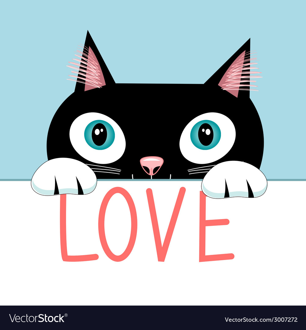 Portrait of a cat with the word love vector | Price: 1 Credit (USD $1)