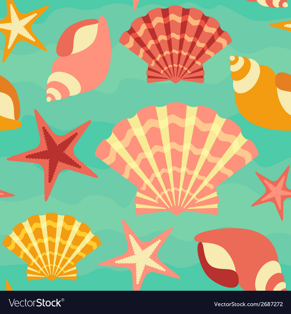 Sea shells seamless background vector | Price: 1 Credit (USD $1)