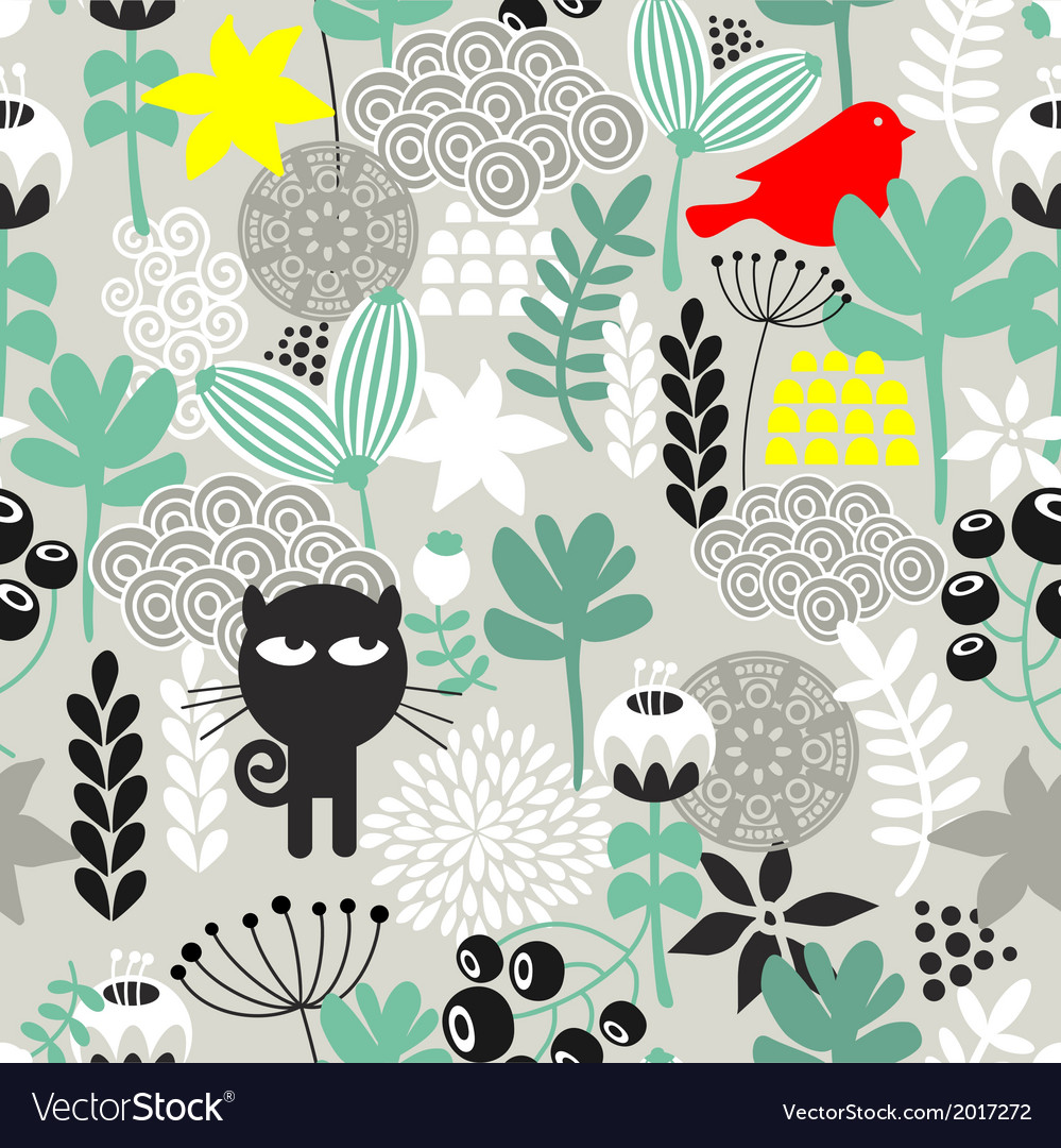 Seamless pattern with black cat hunting vector | Price: 1 Credit (USD $1)