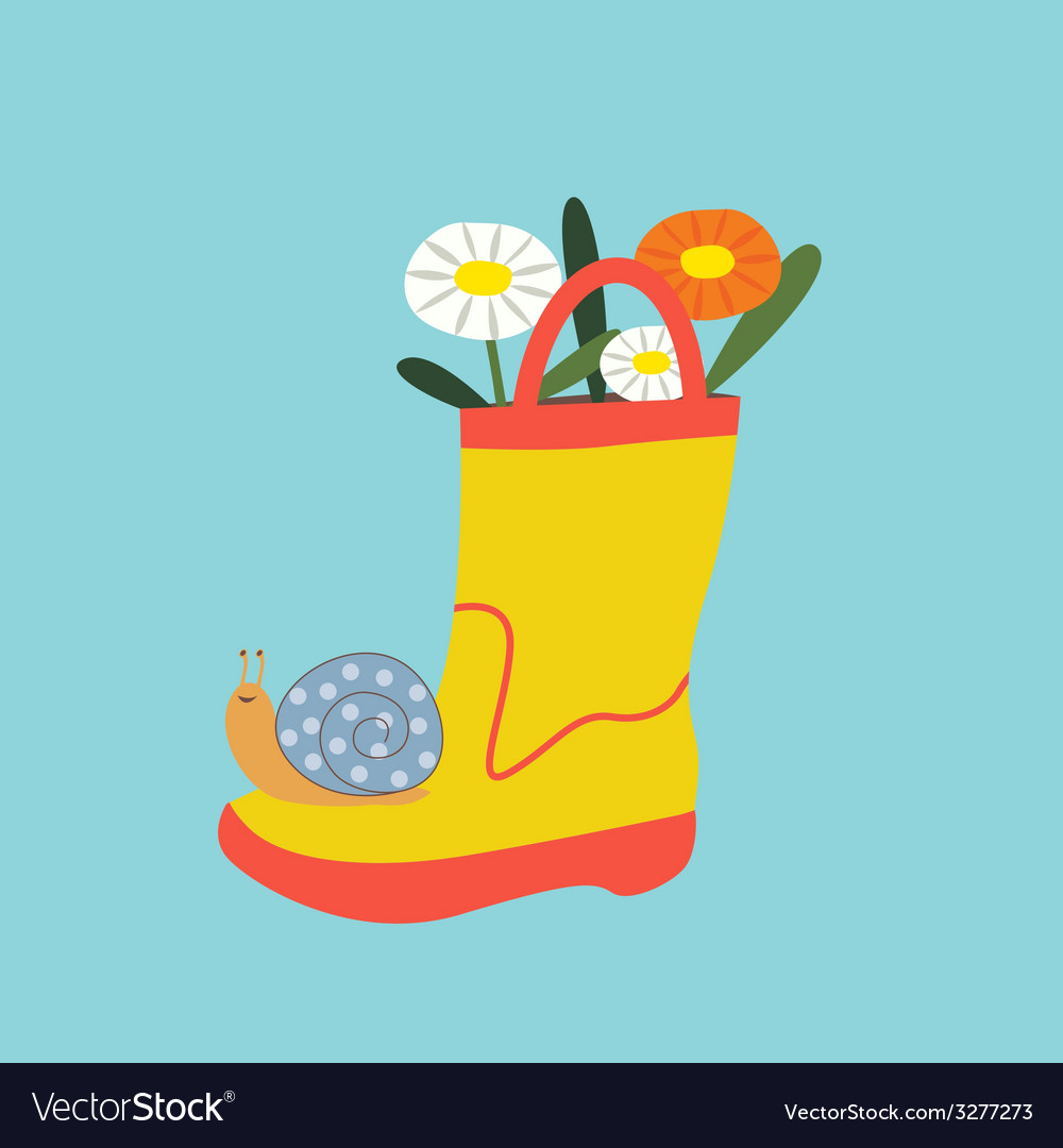 Boot with flowers and snail vector | Price: 1 Credit (USD $1)