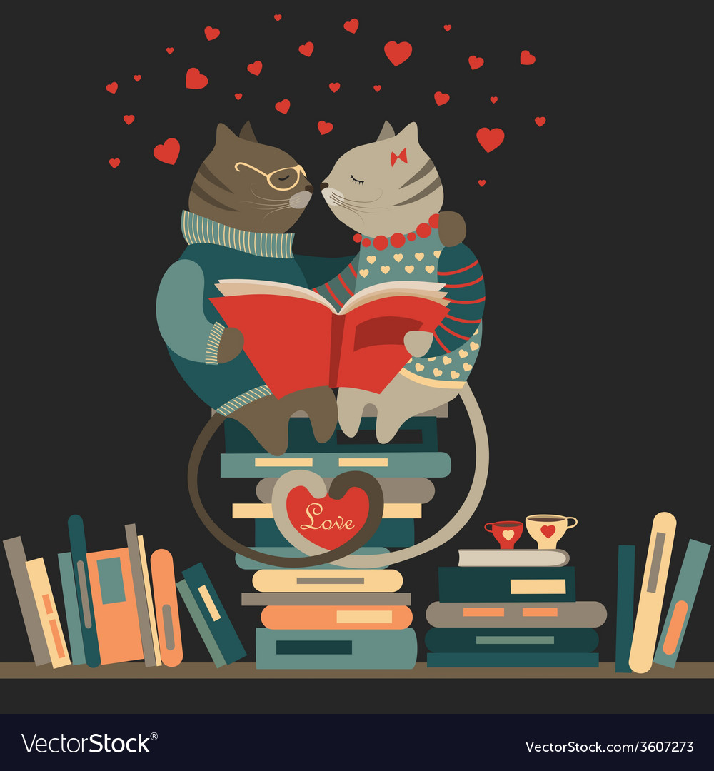 Cats in love reading a book vector | Price: 1 Credit (USD $1)