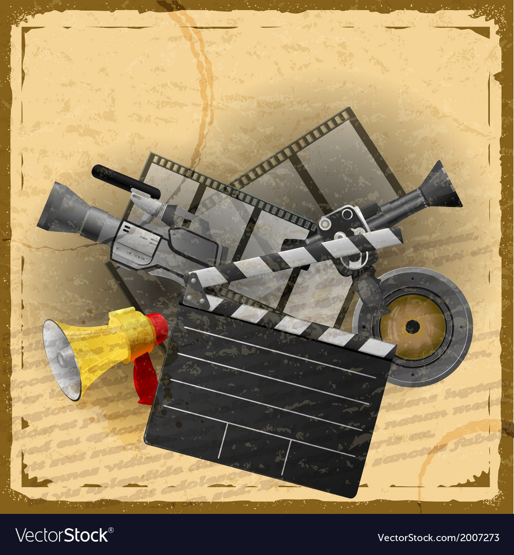 Cinematography vintage card in grunge style vector | Price: 1 Credit (USD $1)
