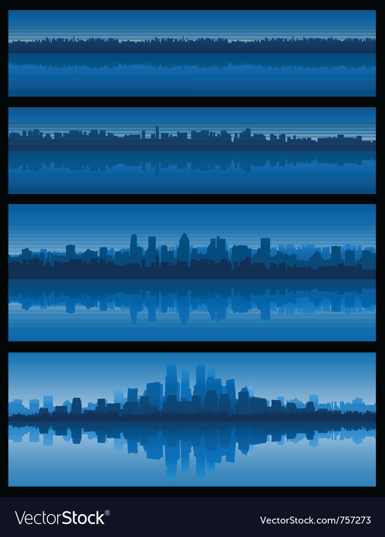 City landscape reflection on water vector | Price: 1 Credit (USD $1)