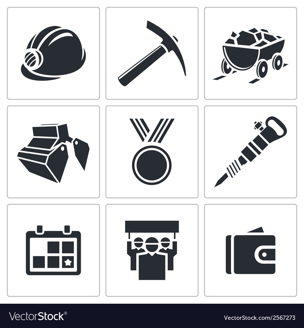 Coal industry icon collection vector | Price: 1 Credit (USD $1)