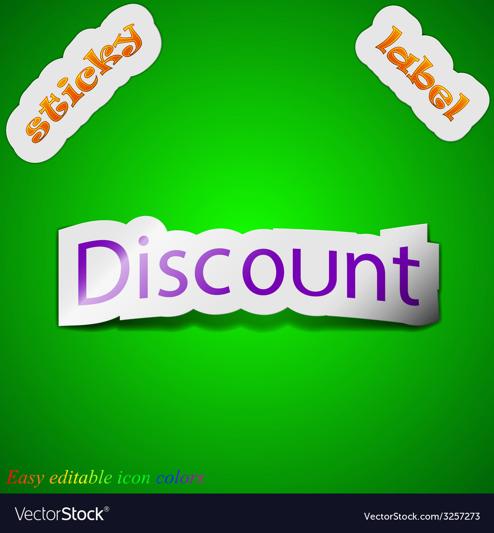 Discount icon sign symbol chic colored sticky vector | Price: 1 Credit (USD $1)
