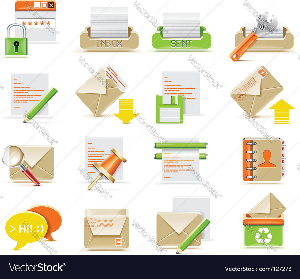Email icon set vector | Price: 3 Credit (USD $3)