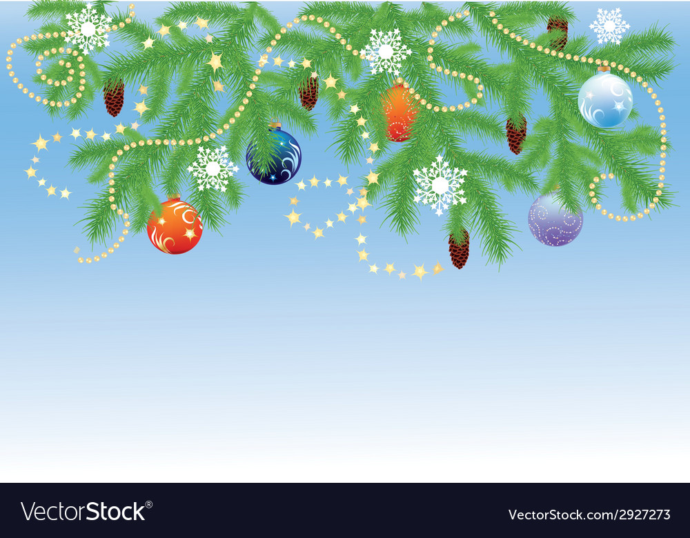 Fir branches with balls vector | Price: 1 Credit (USD $1)