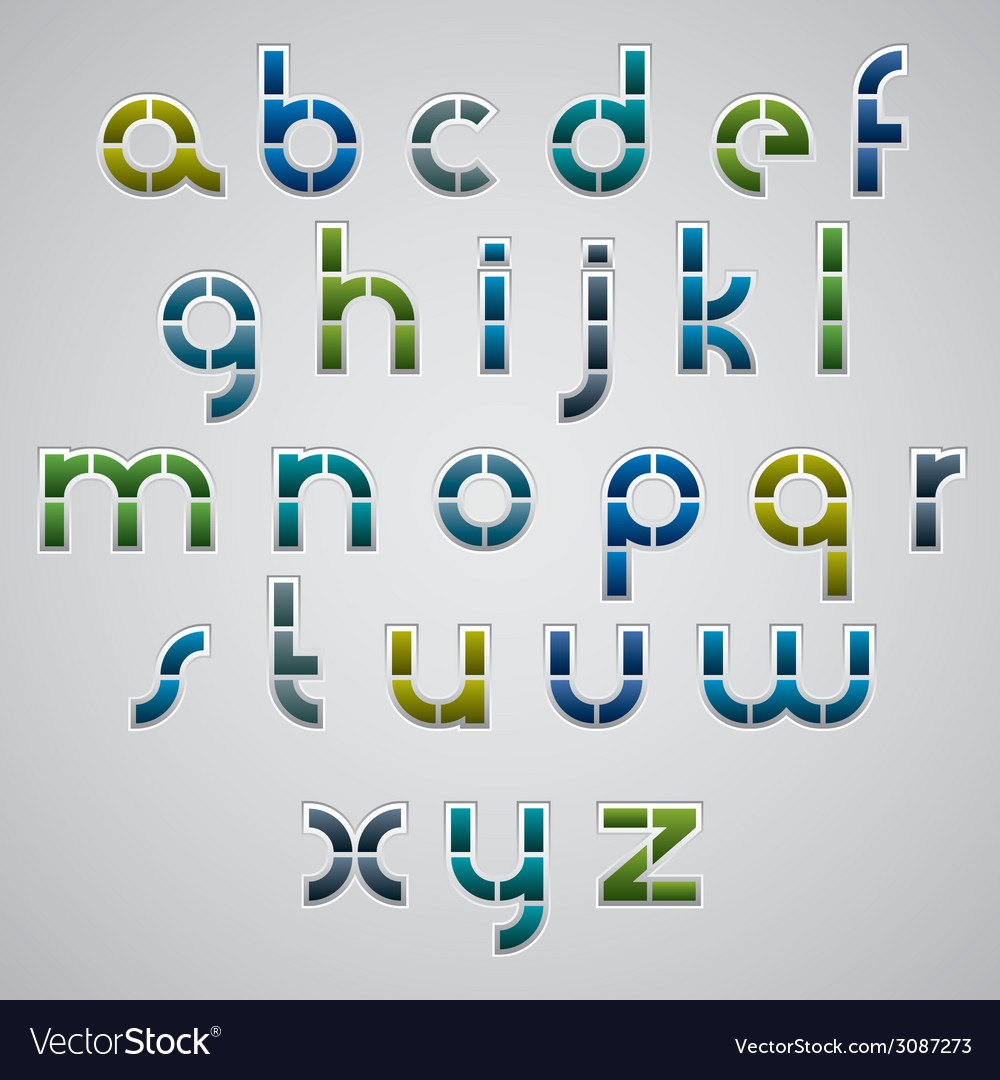Geometric modern style digital letters alphabet vector | Price: 1 Credit (USD $1)