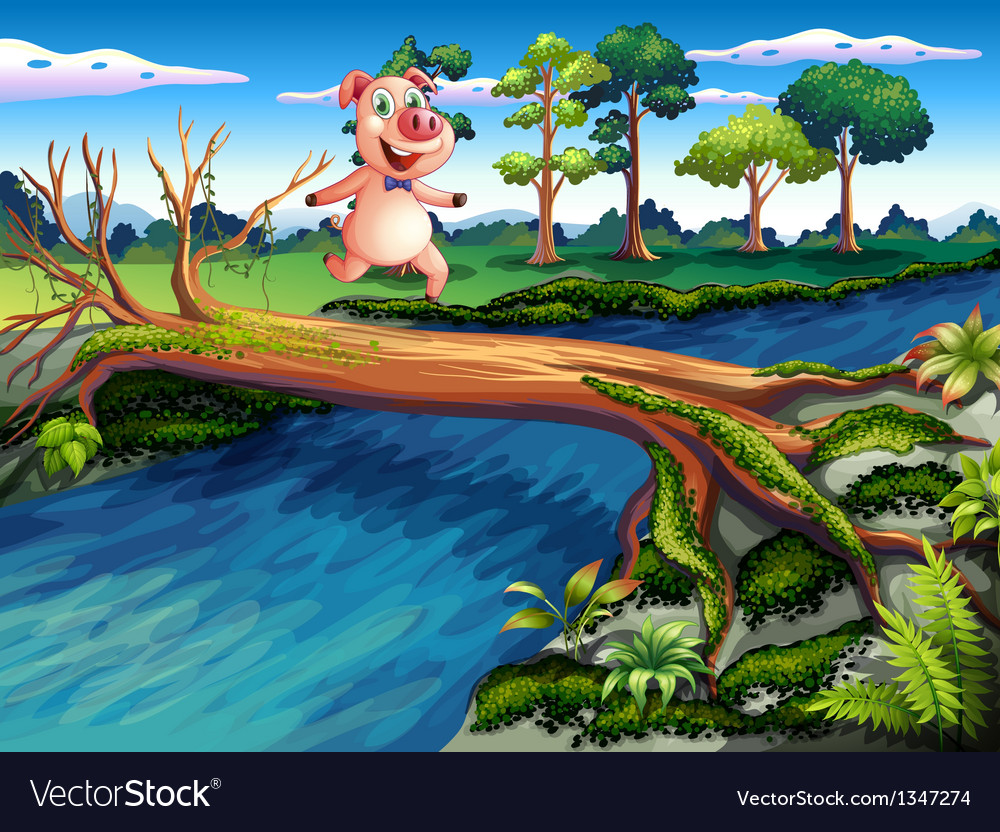 A female pig crossing the river vector | Price: 1 Credit (USD $1)