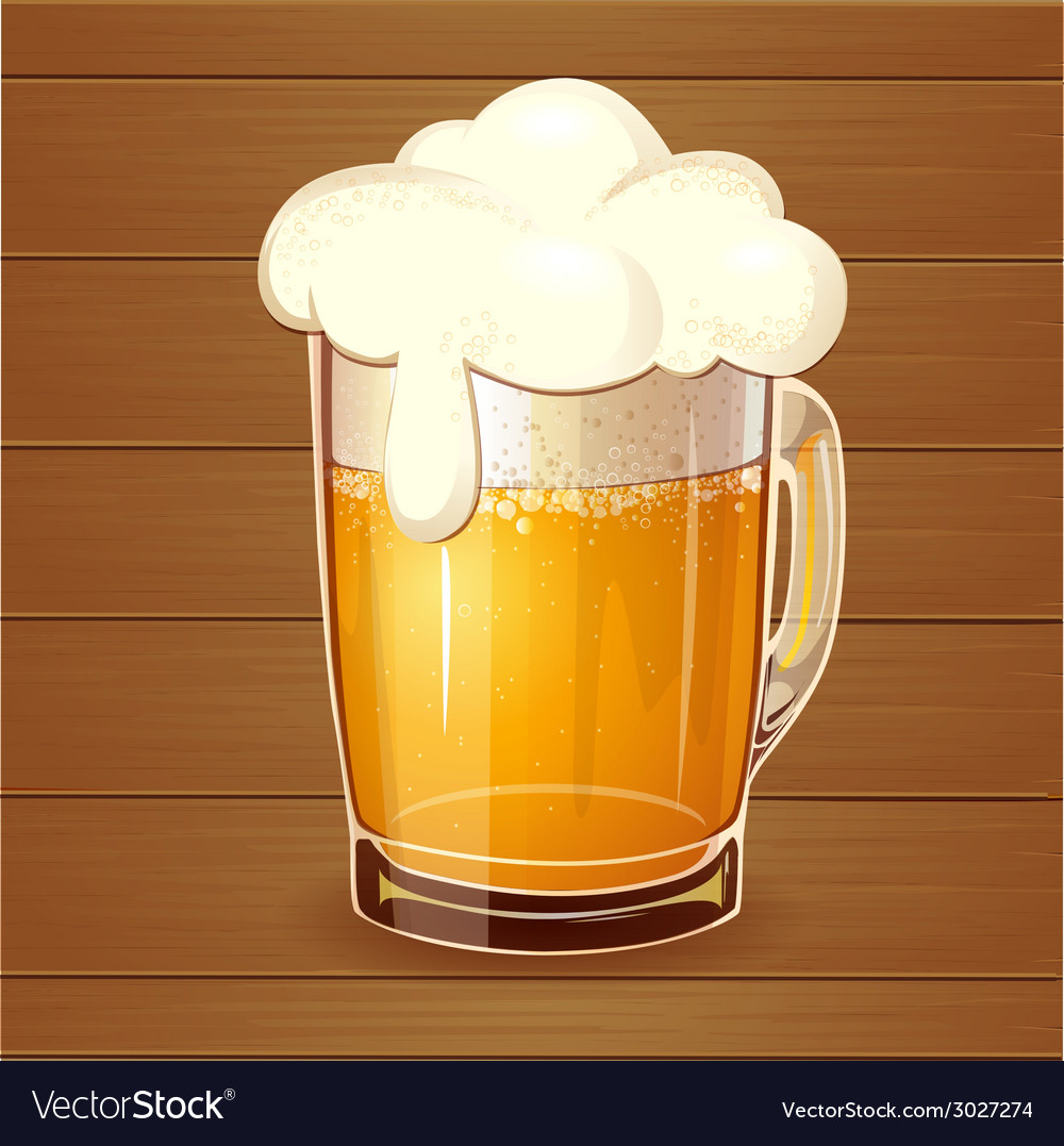 Beer in glass realistic vector | Price: 1 Credit (USD $1)
