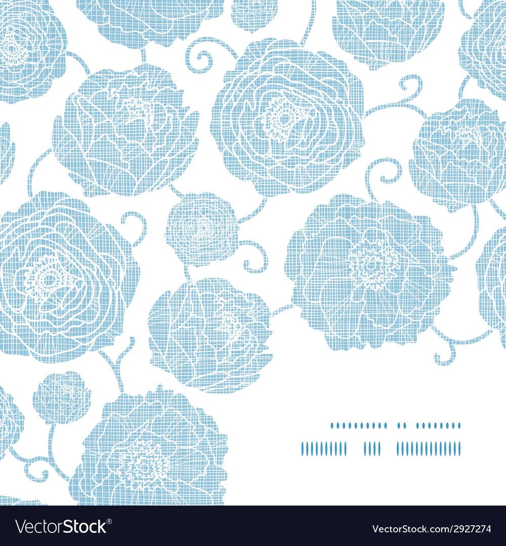 Blue textile peony flowers frame corner pattern vector | Price: 1 Credit (USD $1)