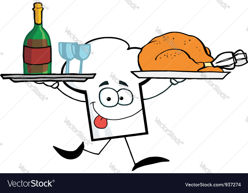 Chef hat guy serving wine and turkey vector | Price: 1 Credit (USD $1)