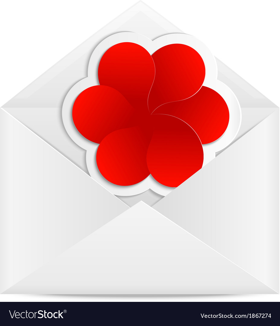 Paper envelope with a red flower vector | Price: 1 Credit (USD $1)
