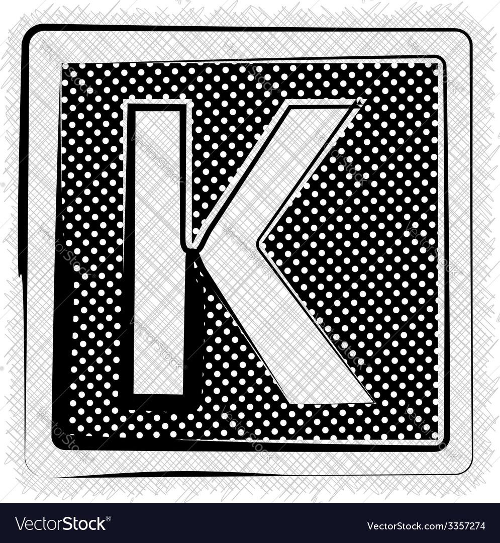 Polka dot font letter k vector | Price: 1 Credit (USD $1)