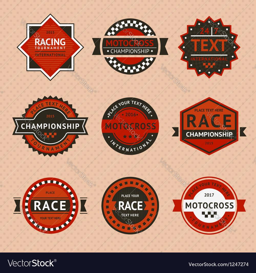 Racing badges - vintage style vector   Price: 1 Credit (USD $1)